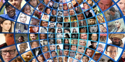 Photomontage with lots of closeups of diverse people's faces